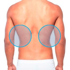 modelos masculinos señalando las dorsales de depilación láser masculin
